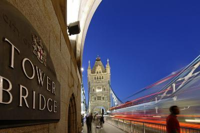 Tower Bridge over the Thames, Traffic, Dusk, London, England, Great Britain-Axel Schmies-Photographic Print