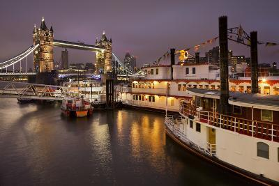 Tower Bridge, River Thames, Ships, in the Evening, London, England, Great Britain-Rainer Mirau-Photographic Print