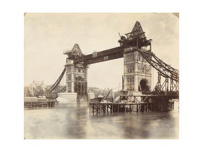 Tower Bridge under Construction, London, C1893--Photographic Print