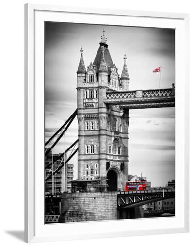 Tower Bridge with Red Bus in London - City of London - UK - England - United Kingdom - Europe-Philippe Hugonnard-Framed Photographic Print