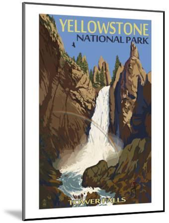 Tower Falls - Yellowstone National Park-Lantern Press-Mounted Art Print