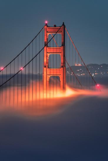 Tower Fog Night Lights Golden Gate Bridge, San Francisco California Travel-Vincent James-Photographic Print