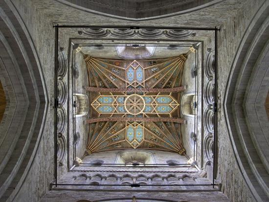 Tower Lantern Ceiling, St. Davids Cathedral, Pembrokeshire National Park, Wales-Peter Barritt-Photographic Print