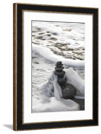 Tower Made of Stones, Sea, Surf-Uwe Merkel-Framed Photographic Print