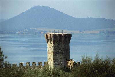 Tower Near a Lake, Lake Trasimeno, Umbria, Italy--Photographic Print