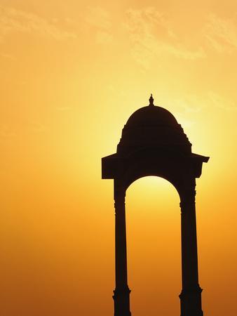 Tower Near the India Gate Silhouetted at Sunset, New Delhi, India-Adam Jones-Photographic Print