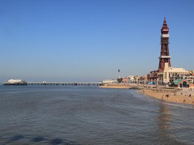 Tower, North Pier and Beach, Blackpool, Lancashire, England, United Kingdom, Europe-Rolf Richardson-Photographic Print