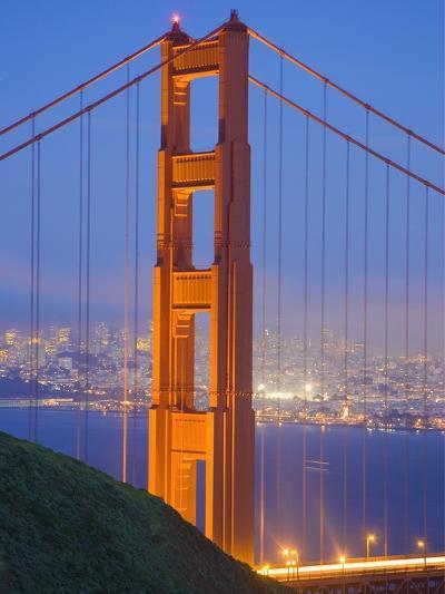 Tower of Golden Gate Bridge and San Francisco at Dusk-Julie Eggers-Photographic Print