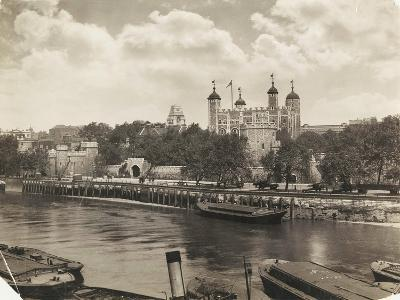 Tower of London from Tower Bridge, London, 1933--Photographic Print