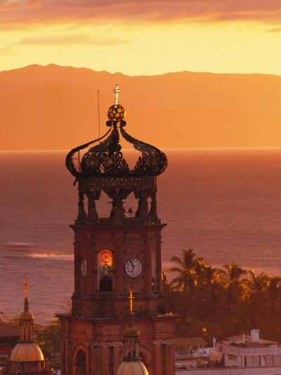 Tower of Nuestra Senora de Guadalupe at Sunset, and Bay of Banderas, Puerto Vallarta, Mexico-John & Lisa Merrill-Photographic Print