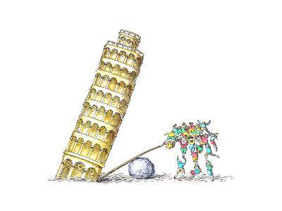 Tower of Pisa - Cartoon-John O'brien-Premium Giclee Print