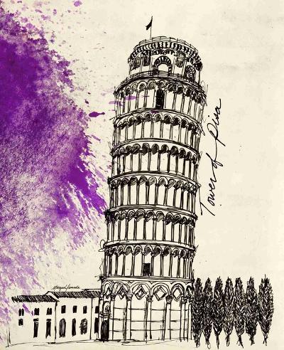 Tower of Pisa in Pen-Morgan Yamada-Art Print