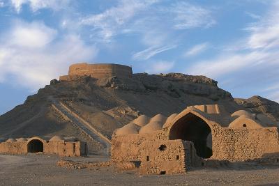 Tower of Silence and Zoroastrian Village, Near Yazd, Iran--Photographic Print