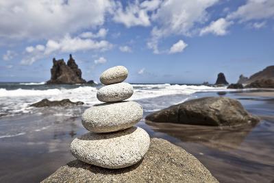 Tower of Stones at Playa De Benijo, Tenerife-Uwe Merkel-Photographic Print