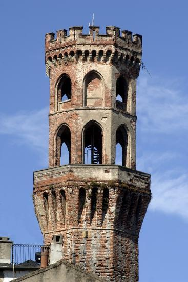 Tower of the Angel (14th-15th Century) Overlooking Piazza Cavour, Vercelli, Piedmont, Italy--Photographic Print