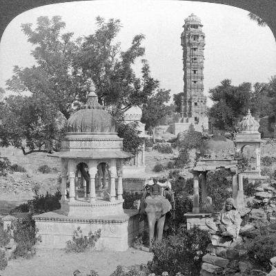 Tower of Victory Amd Royal Cenotaphs, Chittaurgarh, India, 1904-Underwood & Underwood-Giclee Print