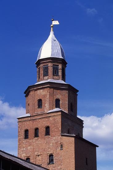Tower on City Walls of Novgorod Kremlin--Photographic Print