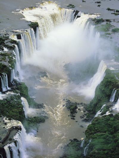 Towering Igwacu Falls Thunders, Brazil-Jerry Ginsberg-Photographic Print