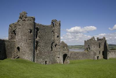 Towers and Wall Inside Llansteffan Castle, Llansteffan, Carmarthenshire, Wales, United Kingdom-Julian Pottage-Photographic Print
