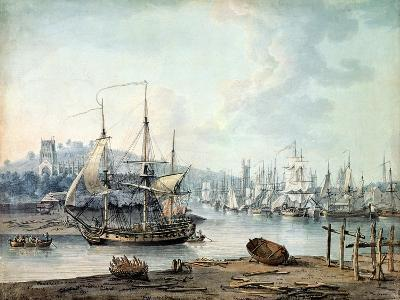 Towing a Warship Out of Bristol Harbour, 1783-Nicholas Pocock-Giclee Print