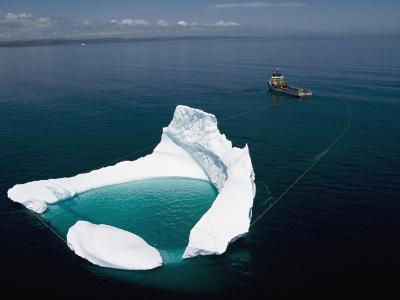 Towing an Iceberg Away from an Oil Platform-Randy Olson-Photographic Print
