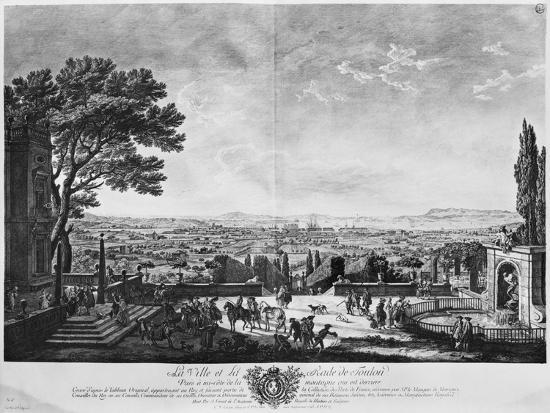 Town and Port of Toulon, Seen from Halfway Down the Mountain Behind-Claude Joseph Vernet-Giclee Print