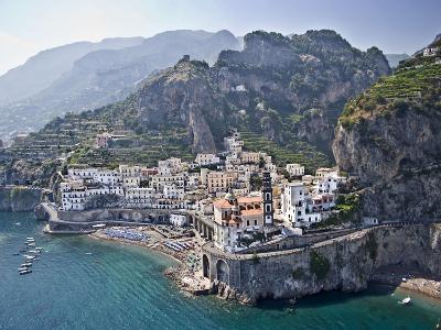 Town at the Waterfront, Amalfi, Atrani, Amalfi Coast, Salerno, Campania, Italy--Photographic Print