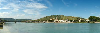 Town at the Waterfront, Vineyards on the Hill in Background, Tain-L'Hermitage, Rhone River--Photographic Print