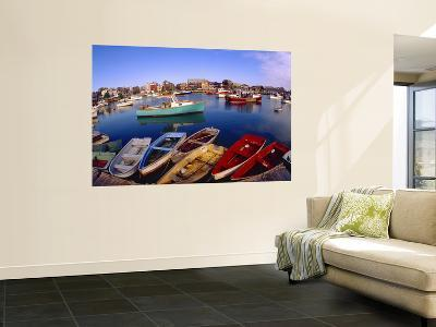 Town Buildings and Colorful Boats in Bay, Rockport, Maine, USA-Jim Zuckerman-Wall Mural