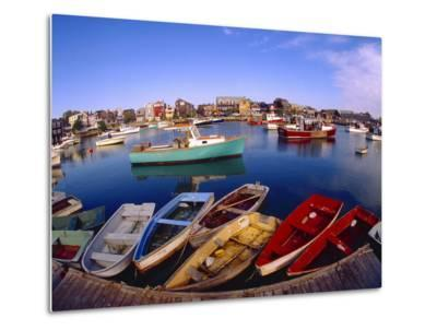 Town Buildings and Colorful Boats in Bay, Rockport, Maine, USA-Jim Zuckerman-Metal Print