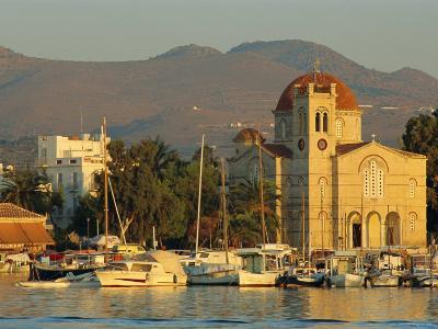 Town Church and Waterfront, Aegina, Argo-Saronic Islands, Greece, Europe-Lee Frost-Photographic Print