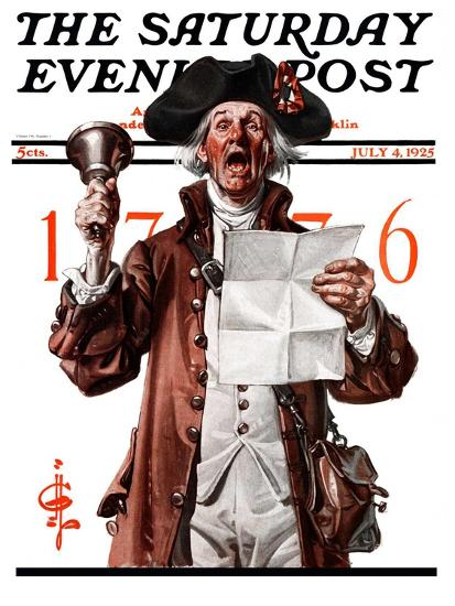 """Town Crier,"" Saturday Evening Post Cover, July 4, 1925-Joseph Christian Leyendecker-Giclee Print"