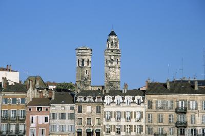 Town. Eglise Vieux Saint-Vincent. Two Stone Towers. Historic Houses- LatitudeStock-Photographic Print