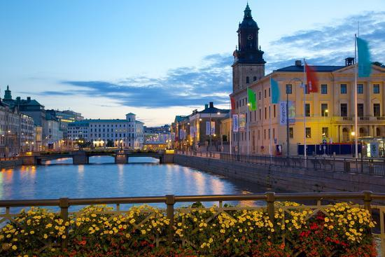 Town Hall and Canal at Dusk, Gothenburg, Sweden, Scandinavia, Europe-Frank Fell-Photographic Print