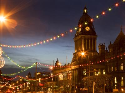 Town Hall and Christmas Lights on the Headrow, Leeds, West Yorkshire, Yorkshire, England, United Ki-Mark Sunderland-Photographic Print
