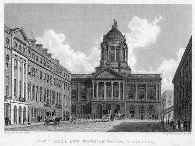 Town Hall and Mansion House, Liverpool, 19th Century-Edward Finden-Giclee Print