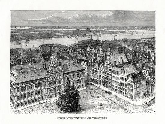 Town Hall and River Schelde, Antwerp, Belgium, 1879-Taylor-Giclee Print
