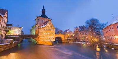 Town Hall in a City at Night, Bamberg, Germany--Photographic Print