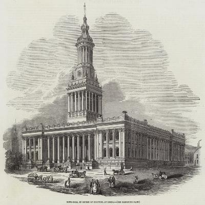 Town-Hall, in Course of Erection, at Leeds--Giclee Print