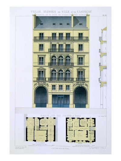 Town House of Italians in Paris, from 'Town and Country Houses Based on the Modern Houses of Paris'-Leon Isabey-Giclee Print