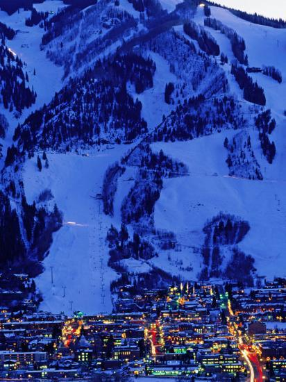 Town Illuminated at Dusk with Aspen Mountain Towering Above-Diego Lezama-Photographic Print