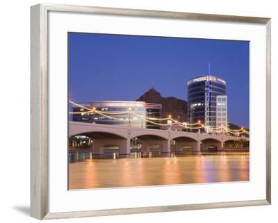 Town Lake and Mill Avenue Bridge, Tempe, Greater Phoenix Area, Arizona-Richard Cummins-Framed Photographic Print