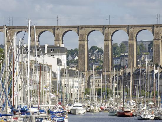 Town of Morlaix and its Viaduct, North Finistere, Brittany, France, Europe-De Mann Jean-Pierre-Photographic Print