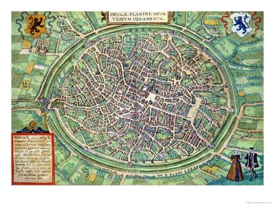 "Town Plan of Bruges, from ""Civitates Orbis Terrarum"" by Georg Braun and Frans Hogenburg, circa 1572-Joris Hoefnagel-Giclee Print"