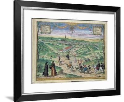 Town Plan of Seville, from Civitates Orbis Terrarum by Georg Braun-Joris Hoefnagel-Framed Giclee Print