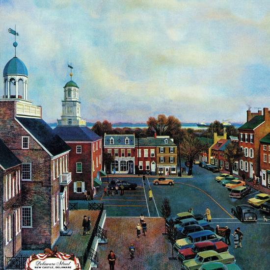 """Town Square, New Castle Delaware,"" March 17, 1962-John Falter-Premium Giclee Print"