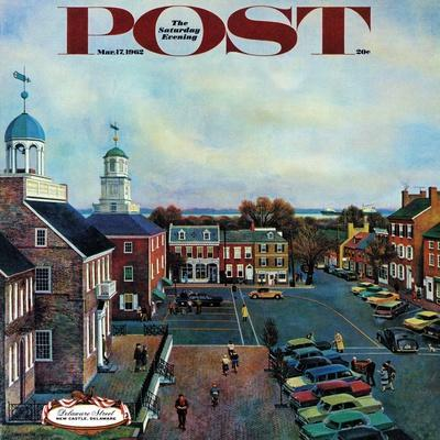 """Town Square, New Castle Delaware,"" Saturday Evening Post Cover, March 17, 1962-John Falter-Premium Giclee Print"