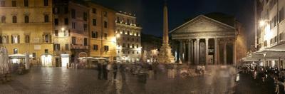 Town Square with Buildings Lit Up at Night, Pantheon Rome, Piazza Della Rotonda, Rome, Lazio, Italy