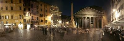 Town Square with Buildings Lit Up at Night, Pantheon Rome, Piazza Della Rotonda, Rome, Lazio, Italy--Photographic Print