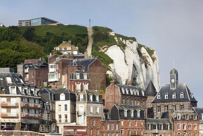 Town View with Cliffs, Le Treport, Normandy, France-Walter Bibikow-Photographic Print